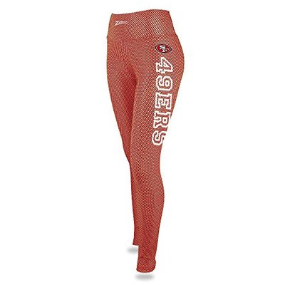 Zubaz NFL San Francisco 49Ers Female NFL Printed Mesh Leggings, Red/Bronze, X-Small