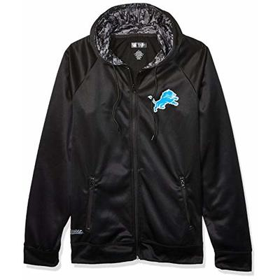 NFL Detroit Lions Men's Full Zip Hoodie, Black, Large
