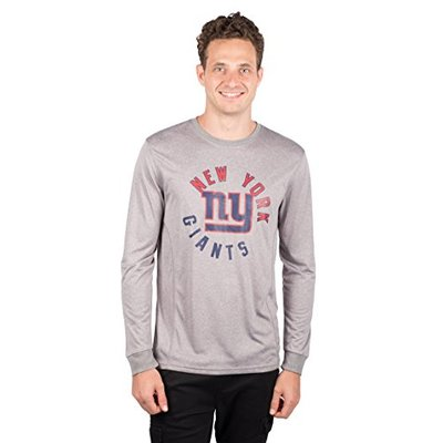 Ultra Game NFL New York Giants Mens Active Long Sleeve Tee Shirt, Heather Gray18, X-Large