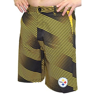 FOCO NFL Pittsburgh Steelers Diagonal Stripe Walking Shorts, Team Color, X-Large/Size 38