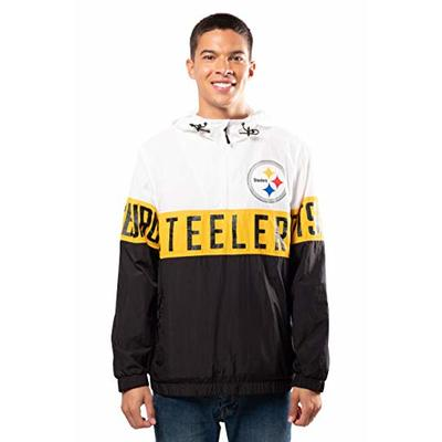 Ultra Game NFL Pittsburgh Steelers Mens Quarter Zip Packable Hoodie Windbreaker Jacket, White, X-Large