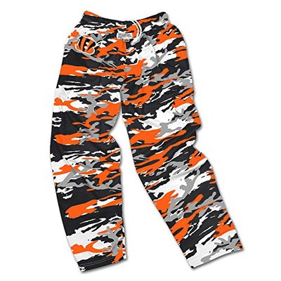 Zubaz NFL Cincinnati Bengals Men's Camo Print Team Logo Casual Active Pants, Medium, Black/Orange/Gray