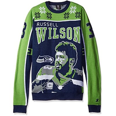 NFL Seattle Seahawks Player Portrait Ugly Sweater, Russell Wilson, Large