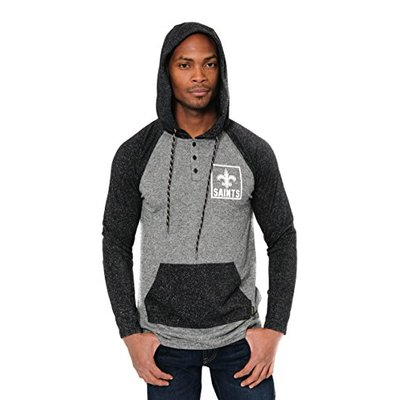 Ultra Game NFL New Orleans Saints Mens Fleece Hoodie Pullover Sweatshirt Henley, Team Color, Small