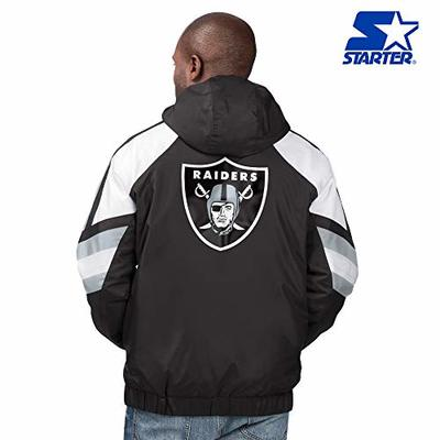 Oakland Raiders Starter Retro Regulator Hooded Full Zip/Button NFL Jacket – Black, Silver (Med)