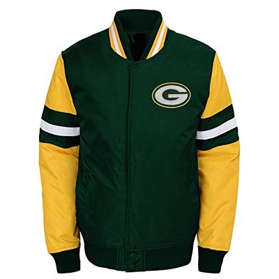 NFL Green Bay Packers Youth Boys Legendary Color Blocked Varsity Jacket Hunter Green, Youth X-Large(18)