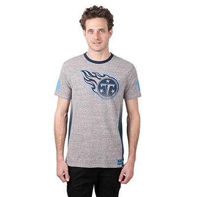 Ultra Game NFL Tennessee Titans Mens Vintage Ringer Short Sleeve Tee Shirt, Gray, Small