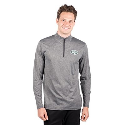 Ultra Game NFL New York Jets Mens Quarter Zip Athletic Pullover Tee Shirt, Heather Charcoa18, X-Large