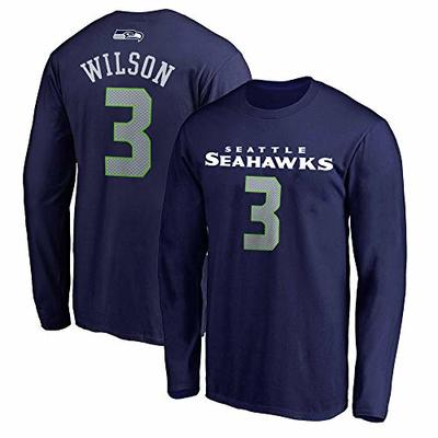 NFL Youth Team Color Mainliner Player Name and Number Long Sleeve Jersey T-Shirt (Medium 10/12, Russell Wilson Seattle Seahawks Navy)