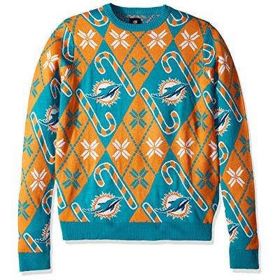 NFL Miami Dolphins CANDY CANE REPEAT Ugly Sweater, Large