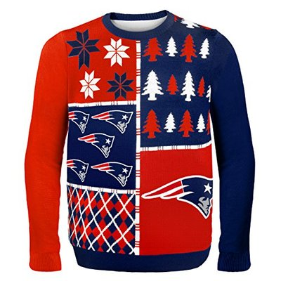 NFL New England Patriots BUSY BLOCK Ugly Sweater, XX-Large