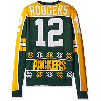 NFL Green Bay Packers Player Portrait Ugly Sweater, Aaron Rodgers, Small