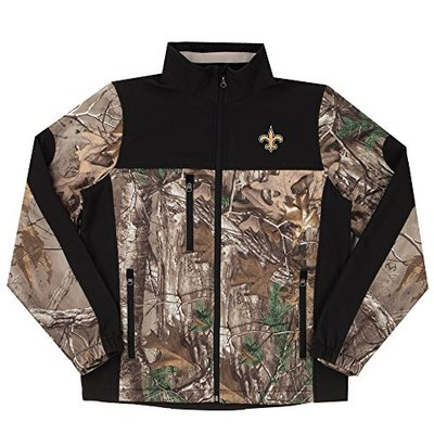 NFL New Orleans Saints Hunter Colorblocked Softshell Jacket, Real Tree Camouflage, Large