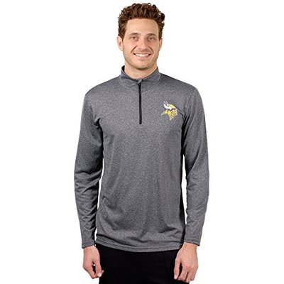 Ultra Game NFL Minnesota Vikings Mens Quarter Zip Athletic Pullover Tee Shirt, Heather Charcoa18, Small