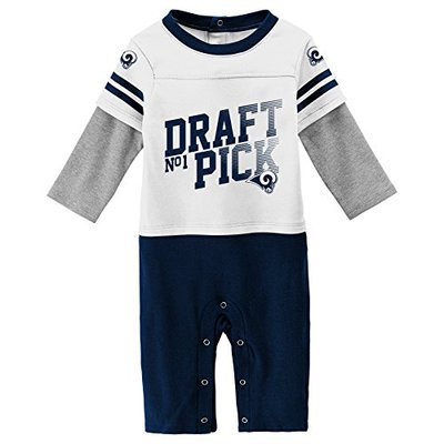 Outerstuff NFL Los Angeles Rams Newborn & Infant Draft Pick Long Sleeve Coverall White, 24 Months