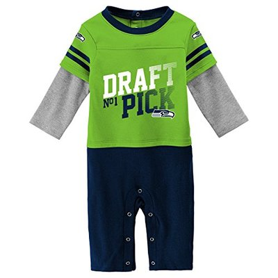 Outerstuff NFL Seattle Seahawks Newborn & Infant Draft Pick Long Sleeve Coverall Action Green, 3-6 Months