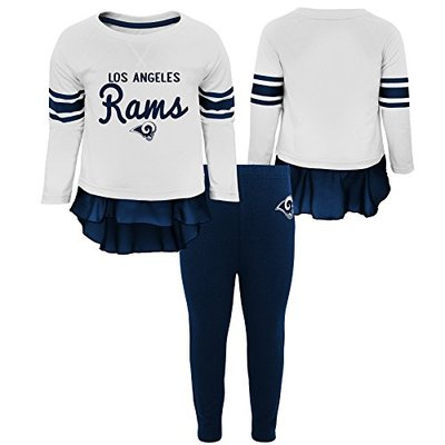 """NFL Los Angeles Rams Toddler """"Mini Formation"""" Long Sleeve Top & Legging Set White, 2T"""