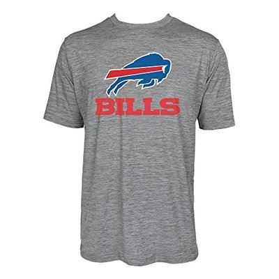 Zubaz NFL Buffalo Bills Men's Tonal Gray Wordmark Logo Tee, Gray, Small