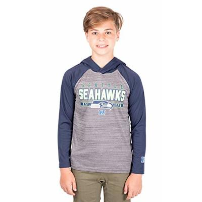 Ultra Game NFL Seattle Seahawks Youth Moisture Wicking Athletic Performance Pullover Sweatshirt Hoodie, Team Color, 14/16