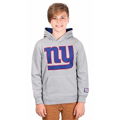 Ultra Game NFL New York Giants Youth Extra Soft Poly Dry Fleece Pullover , Heather Gray, 10/12