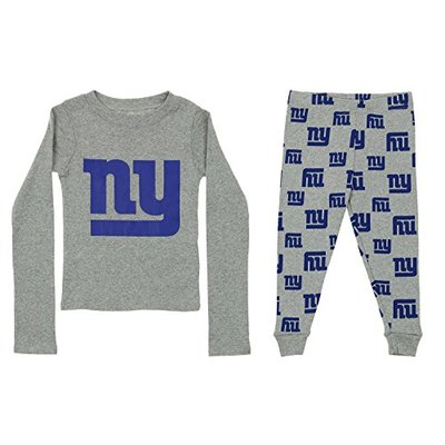 Outerstuff NFL Little Boy's Long Sleeve Tee and Pant Sleep Set, New York Giants 4T