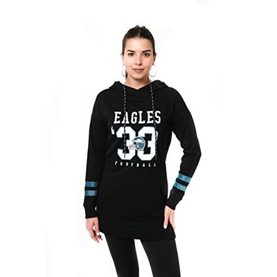 Ultra Game NFL Philadelphia Eagles Womens Tunic Hoodie Pullover Sweatshirt Terry, Team Color, X-Large