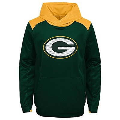 """NFL by Outerstuff Youth """"Off The Grid"""" Performance Pullover Hoodie Green Bay Packers, Hunter Green, Kids Medium (5-6)"""