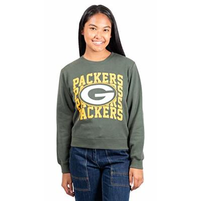 Ultra Game NFL Green Bay Packers Womens Extra Soft Snow Distressed Fleece Long Sleeve Sweatshirt, Team Color, Large