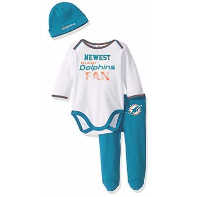 NFL Miami Dolphins Boys  BODYSUIT FOOTED PANT AND CAP,  Team Color,  3-6M, 3 piece