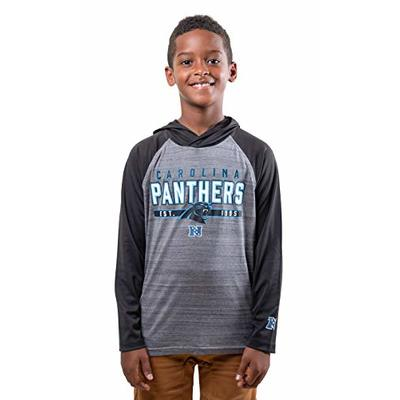 Ultra Game NFL Carolina Panthers Youth Moisture Wicking Athletic Performance Pullover Sweatshirt Hoodie, Team Color, 14/16