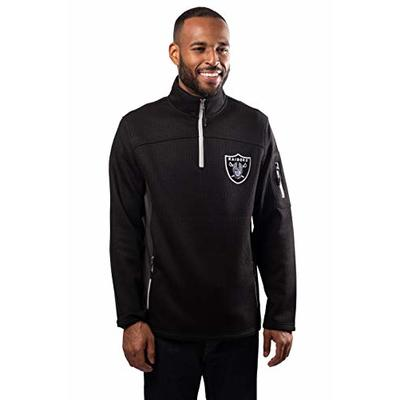 Ultra Game NFL Las Vegas Raiders Mens Quarter-Zip Fleece Pullover Sweatshirt with Zipper Pockets, Black, Medium
