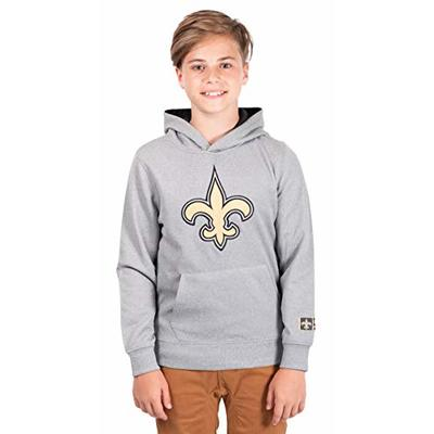 Ultra Game NFL New Orleans Saints Youth Extra Soft Poly Dry Fleece Pullover , Heather Gray, 10/12
