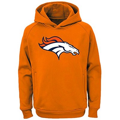 NFL Youth Team Color Performance Primary Logo Pullover Sweatshirt Hoodie (Small 8, Denver Broncos)