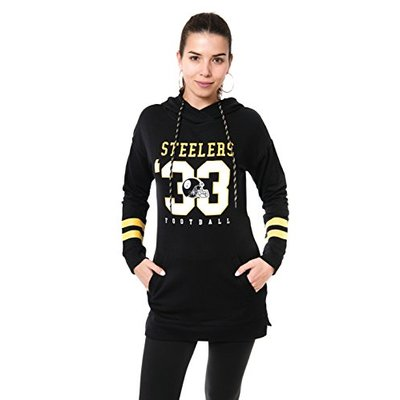 Ultra Game NFL Pittsburgh Steelers Womens Tunic Hoodie Pullover Sweatshirt Terry, Team Color, X-Large