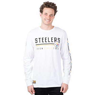 Ultra Game NFL Pittsburgh Steelers Mens Active Basic Long Sleeve Tee Shirt, White, Medium
