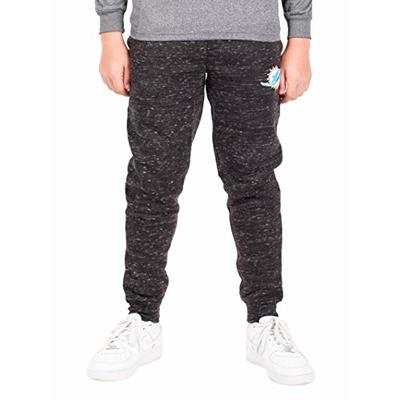 Ultra Game NFL Miami Dolphins Youth Extra Soft Black Snow Fleece Jogger Sweatpants, Black Snow, 14/16