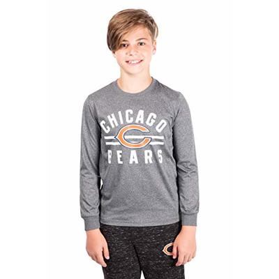 Ultra Game NFL Chicago Bears Youth Super Soft Crew Neck Long Sleeve T-Shirt, Heather Gray Charcoal, 8