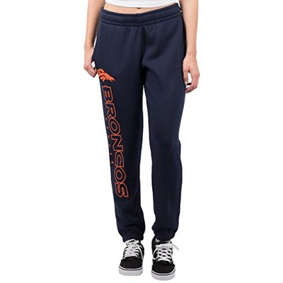 Ultra Game NFL Denver Broncos Womens Relaxed Fit Jogger, Navy, Large