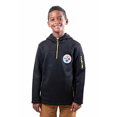 Ultra Game NFL Pittsburgh Steelers Youth Extra Soft Fleece Quarter Zip Pullover Hoodie Sweartshirt, Team Color, 10/12