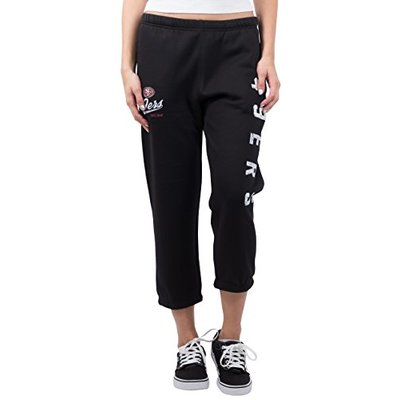 Ultra Game NFL Pittsburgh Steelers Womens Jogger Pants Capri Cropped Fleece Sweatpants, Black, Large