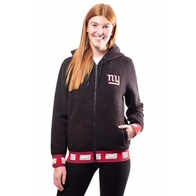 Ultra Game NFL New York Giants Womens Full Zip Sherpa Jersey Hoodie with Team Logo, Team Color, Medium