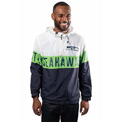 Ultra Game NFL Seattle Seahawks Mens Quarter Zip Packable Hoodie Windbreaker Jacket, White, Medium