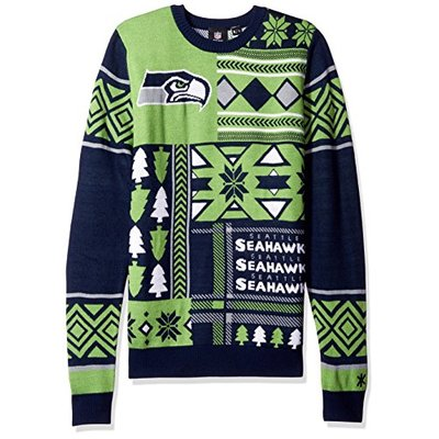 NFL SEATTLE SEAHAWKS PATCHES Ugly Sweater, XX-Large