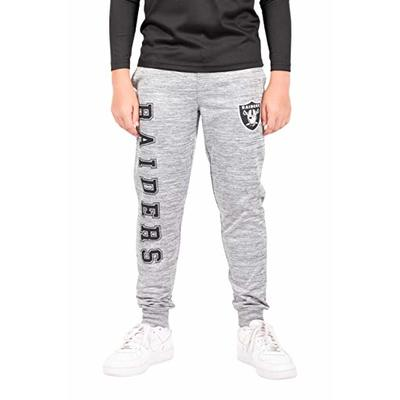 Ultra Game NFL Las Vegas Raiders Youth High Performance Moisture Wicking Fleece Jogger Sweatpants, Heather Gray, 14/16