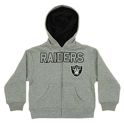 Outerstuff NFL Kids Oakland Raiders Stated Full-Zip Fleece Hoodie, Gray Small (4)