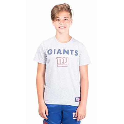 Ultra Game NFL New York Giants Youth Active Crew Neck Tee Shirt, Heather Gray, 14/16