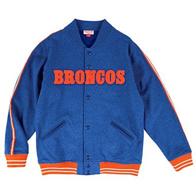 "Mitchell & Ness Men's NFL Denver Broncos ""Play Call"" Premium Fleece Jacket-Blue/Orange-XL"