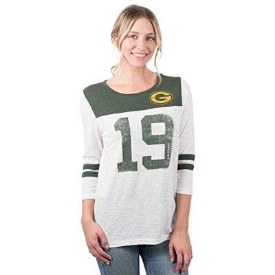 Ultra Game NFL Green Bay Packers Womens T-Shirt Vintage 3/4 Long Sleeve Tee Shirt, White, Medium