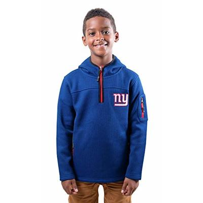 Ultra Game NFL New York Giants Youth Extra Soft Fleece Quarter Zip Pullover Hoodie Sweartshirt, Team Color, 8