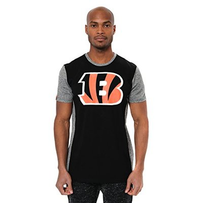 Ultra Game NFL Cincinnati Bengals Mens T-Shirt Raglan Block Short Sleeve Tee Shirt, Team Color, Large